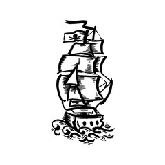 Vector hand drawn black color old school tattoo boat on white background