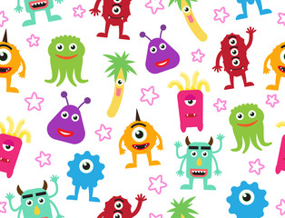 Seamless pattern of cute cartoon monsters background - Vector illustration
