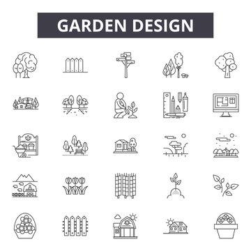 Garden design line icons for web and mobile. Editable stroke signs. Garden design  outline concept illustrations