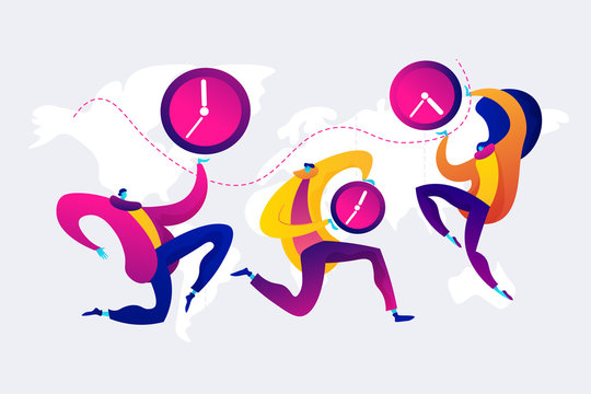 Time zones concept vector illustration.