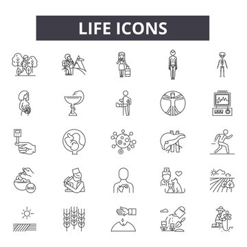 Life line icons for web and mobile. Editable stroke signs. Life  outline concept illustrations