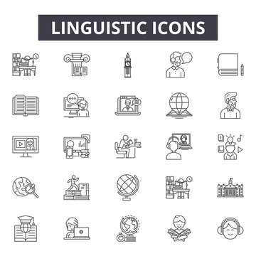Linguistic line icons for web and mobile. Editable stroke signs. Linguistic  outline concept illustrations
