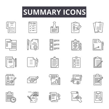 Summary line icons for web and mobile. Editable stroke signs. Summary  outline concept illustrations