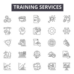 Training services line icons for web and mobile. Editable stroke signs. Training services  outline concept illustrations