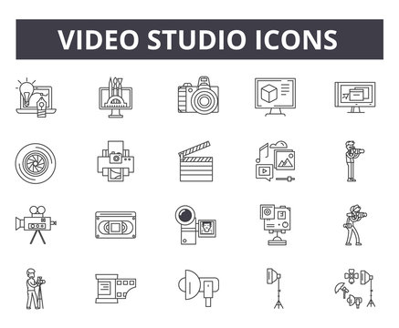 Video studio line icons for web and mobile. Editable stroke signs. Video studio  outline concept illustrations