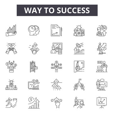 Way to success line icons for web and mobile. Editable stroke signs. Way to success  outline concept illustrations