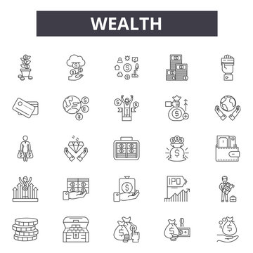 Wealth line icons for web and mobile. Editable stroke signs. Wealth  outline concept illustrations
