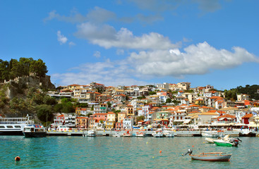 Paxos harbour houses built on the hill