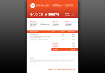 Invoice with Orange Accents