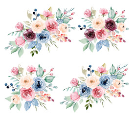Watercolor flowers set, bouquets. Burgundy, yellow, indigo and pink peonies, roses. For greeting card, wedding invitation, poster, stickers and other. Isolation on white. Hand painting.