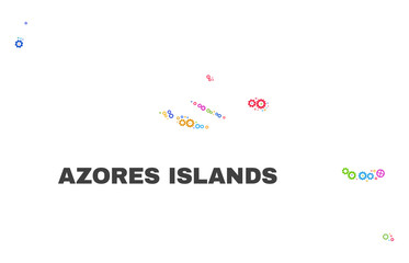 Mosaic technical Azores Islands map isolated on a white background. Vector geographic abstraction in different colors. Mosaic of Azores Islands map combined of scattered multi-colored cog elements.