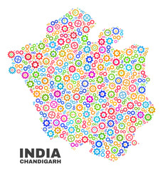 Mosaic technical Chandigarh City map isolated on a white background. Vector geographic abstraction in different colors. Mosaic of Chandigarh City map designed from random multi-colored wheel elements.
