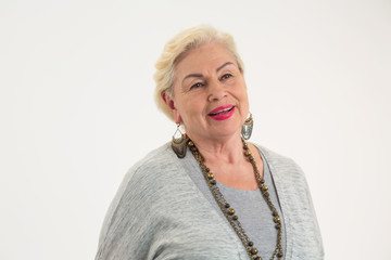 Senior woman on white background. Isolated elderly lady. How to stay confident.