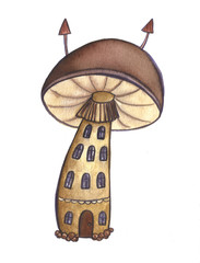 Hand drawn fairy tale house mushroom forest watercolor autumn