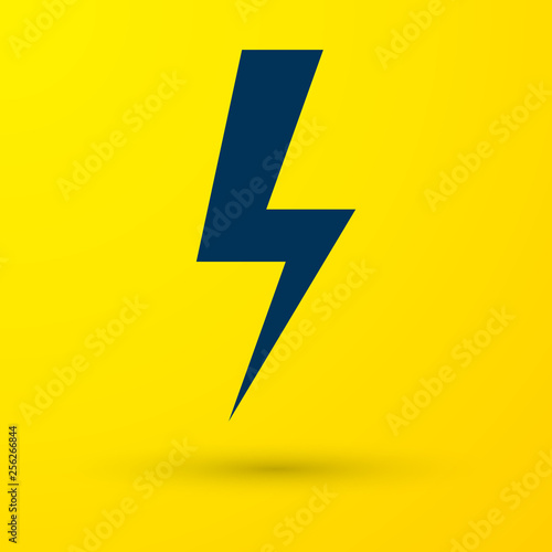 Blue Lightning bolt icon isolated on yellow background  Flash icon