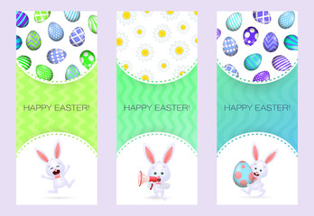 Happy Easter letterings set, bunnies, megaphone and eggs. Easter greeting cards set. Typed text, calligraphy. For leaflets, brochures, invitations, posters or banners.
