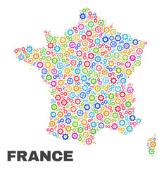 Mosaic technical France map isolated on a white background. Vector geographic abstraction in different colors. Mosaic of France map combined of scattered multi-colored gear items.