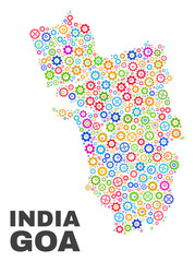 Mosaic technical Goa State map isolated on a white background. Vector geographic abstraction in different colors. Mosaic of Goa State map combined of random multi-colored gearwheel elements.