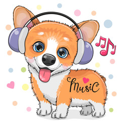 Cute cartoon Corgi Dog with headphones