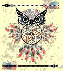 dream catcher with owl. boho style. totem animal