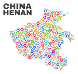 Mosaic technical Henan Province map isolated on a white background. Vector geographic abstraction in different colors. Mosaic of Henan Province map combined of scattered bright gearwheel elements.