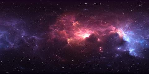 Fototapete - 360 degree stellar system and nebula. Panorama, environment 360 HDRI map. Equirectangular projection, spherical panorama