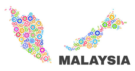 Mosaic technical Malaysia map isolated on a white background. Vector geographic abstraction in different colors. Mosaic of Malaysia map designed from random multi-colored cog elements.