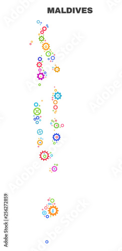 Mosaic technical Maldives map isolated on a white background. Vector ...