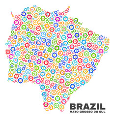 Mosaic technical Mato Grosso do Sul State map isolated on a white background. Vector geographic abstraction in different colors.
