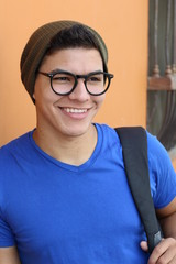 Male student with glasses portrait