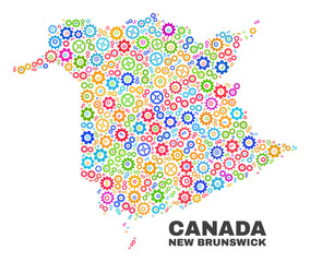 Mosaic technical New Brunswick Province map isolated on a white background. Vector geographic abstraction in different colors.