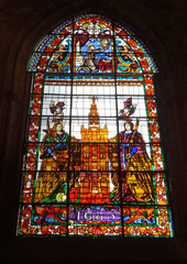 Espagne, ville de Séville, vitrail de la Giralda