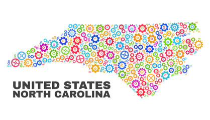 Mosaic technical North Carolina State map isolated on a white background. Vector geographic abstraction in different colors.