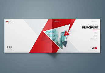Horizontal Red Business Report Cover Layout with Triangles