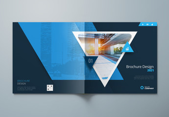 Dark Square Business Report Cover Layout with Triangles
