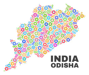 Mosaic technical Odisha State map isolated on a white background. Vector geographic abstraction in different colors.