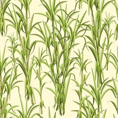 Fotobehang Draw Sugar Cane Exotic Plant Seamless Pattern Vector Design
