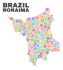 Mosaic technical Roraima State map isolated on a white background. Vector geographic abstraction in different colors. Mosaic of Roraima State map designed from random multi-colored gearwheel elements.