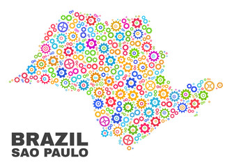 Mosaic technical Sao Paulo State map isolated on a white background. Vector geographic abstraction in different colors. Mosaic of Sao Paulo State map combined of random colorful wheel elements.