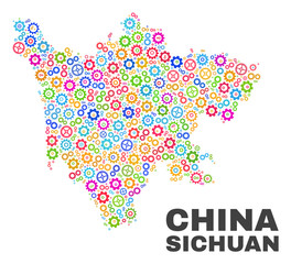 Mosaic technical Sichuan Province map isolated on a white background. Vector geographic abstraction in different colors. Mosaic of Sichuan Province map combined of random multi-colored cog items.