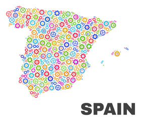 Mosaic technical Spain map isolated on a white background. Vector geographic abstraction in different colors. Mosaic of Spain map designed from random multi-colored gearwheel items.