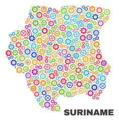 Mosaic technical Suriname map isolated on a white background. Vector geographic abstraction in different colors. Mosaic of Suriname map combined of random colorful cog items.