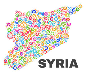 Mosaic technical Syria map isolated on a white background. Vector geographic abstraction in different colors. Mosaic of Syria map combined of scattered colorful wheel elements.