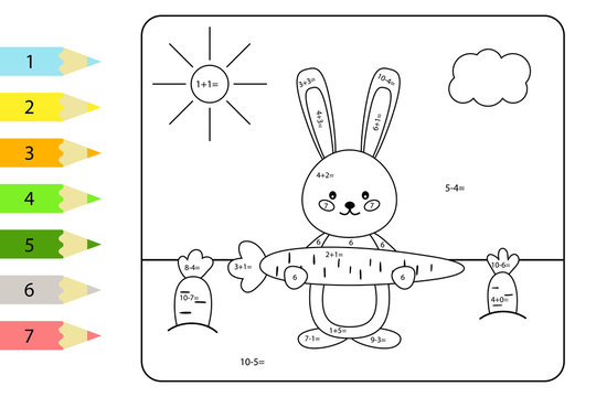 Educational coloring page for preschool kids. Paint color by subtraction and addition numbers. Vector kawaii rabbit with carrots. Spring theme.