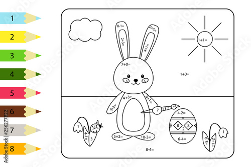 Educational coloring page for preschool kids  Paint color by
