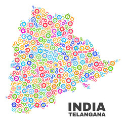 Mosaic technical Telangana State map isolated on a white background. Vector geographic abstraction in different colors. Mosaic of Telangana State map combined of scattered bright cogwheel items.