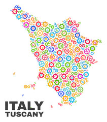 Mosaic technical Tuscany region map isolated on a white background. Vector geographic abstraction in different colors. Mosaic of Tuscany region map combined of random bright cog elements.