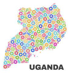 Mosaic technical Uganda map isolated on a white background. Vector geographic abstraction in different colors. Mosaic of Uganda map composed from random multi-colored gearwheel items.