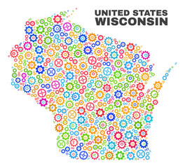 Mosaic technical Wisconsin State map isolated on a white background. Vector geographic abstraction in different colors. Mosaic of Wisconsin State map combined of random multi-colored gear items.