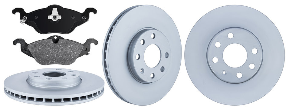 set collection of automotive car parts brake steel disc and pad isolated white background
